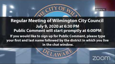 VIRTUAL REGULAR MEETING OF WILMINGTON CITY COUNCIL JULY 9