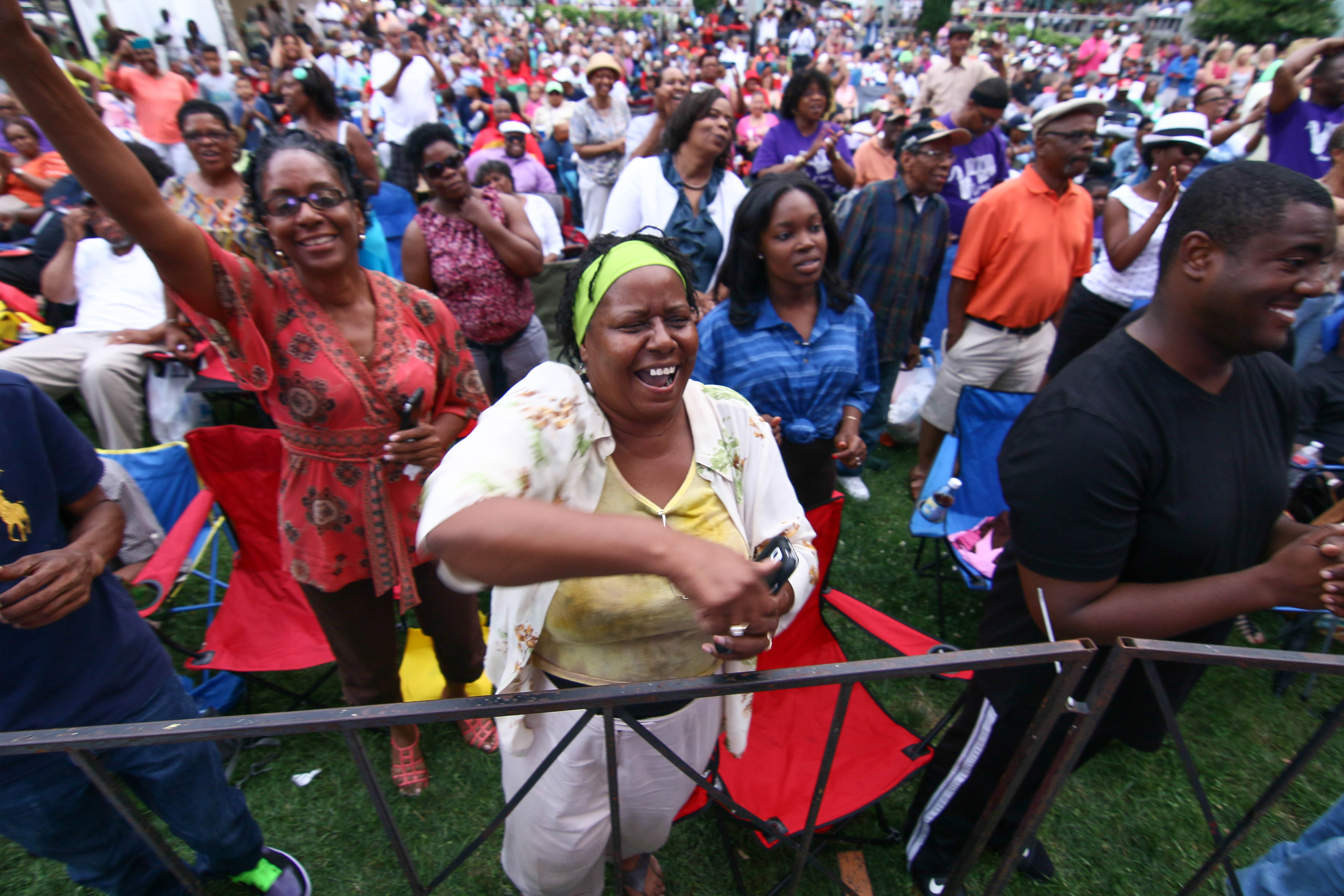 The crowd cheers during Brian Culbertson performance on the last day of the 26th annual duPont Clifford Brown Jazz Festival