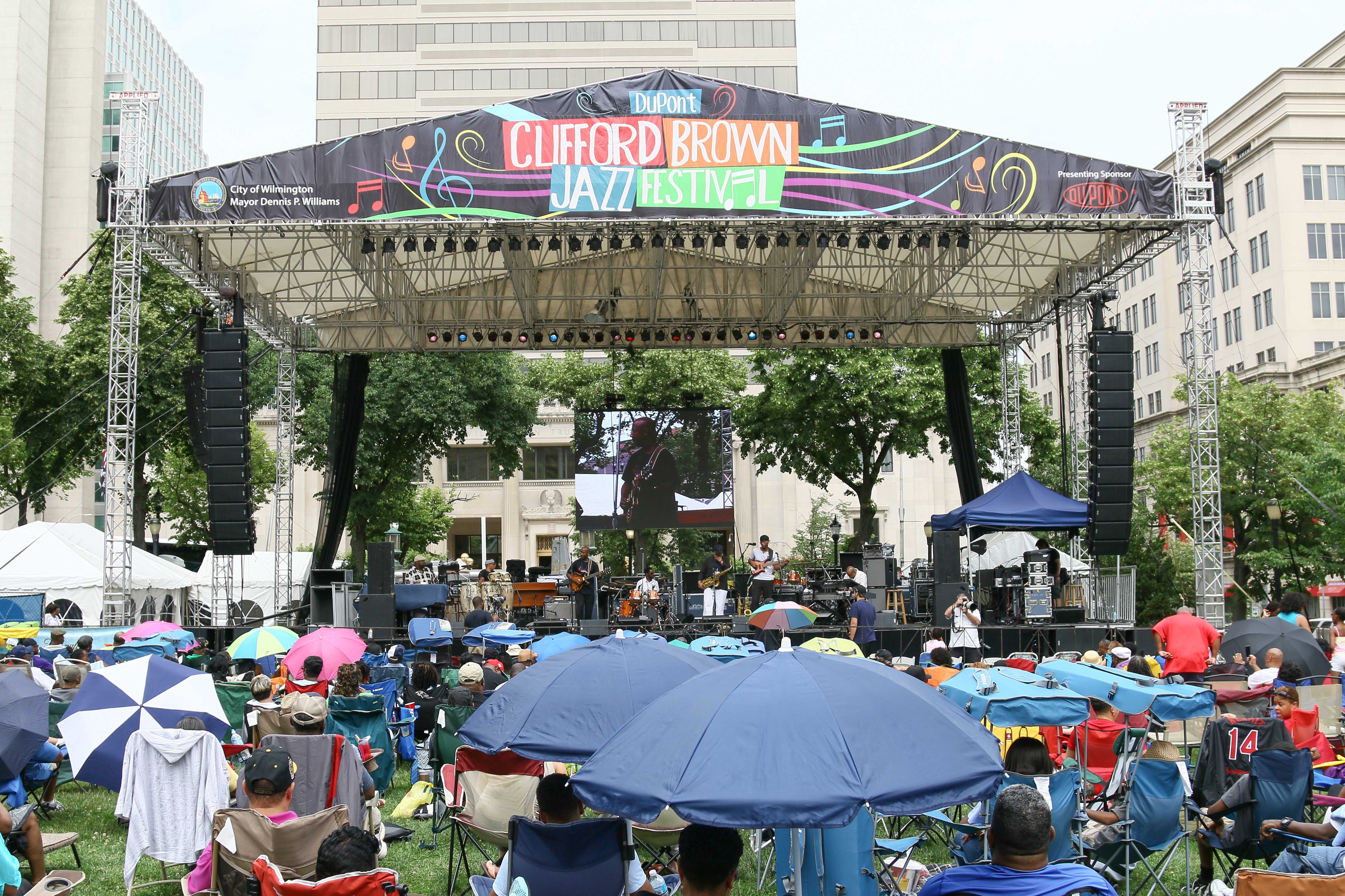 Aniya Jazz performs in front of a large crowd on the last day of the 26th annual duPont Clifford Brown Jazz Festival