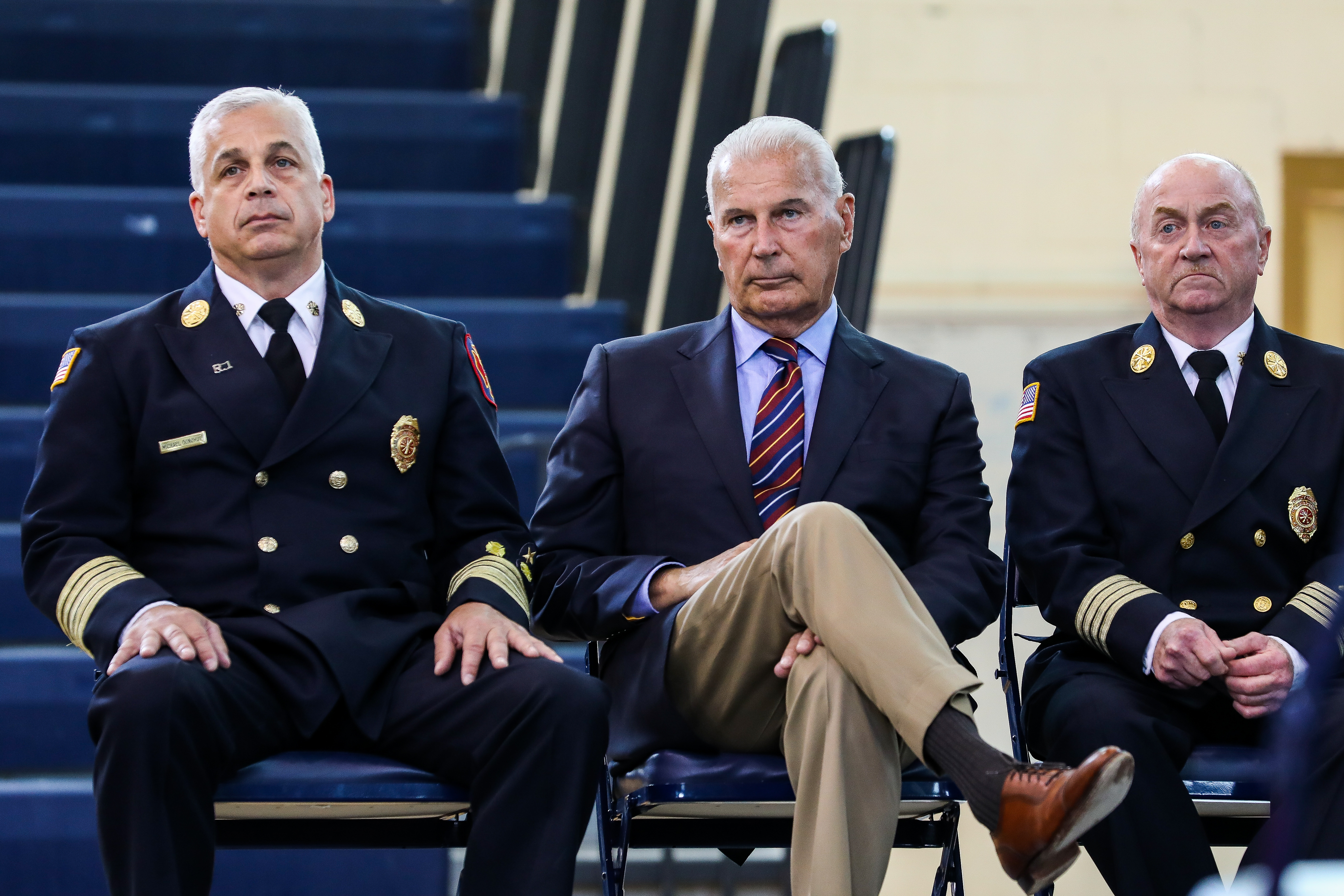 Fire Chief Michael Donohue, Wilmington Mayor Mike Purzycki and Wilmington Battalion Chief John M. Looney at the 40th Fire Academy Graduation