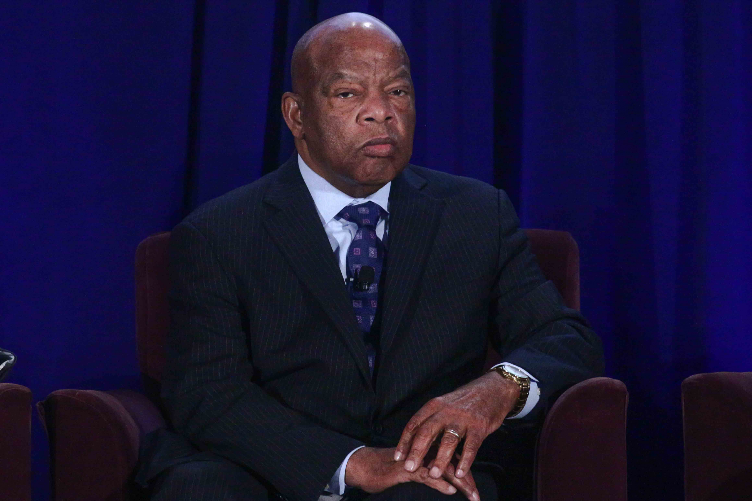 Civil rights icon and United States Congressman John Lewis listens to a question.